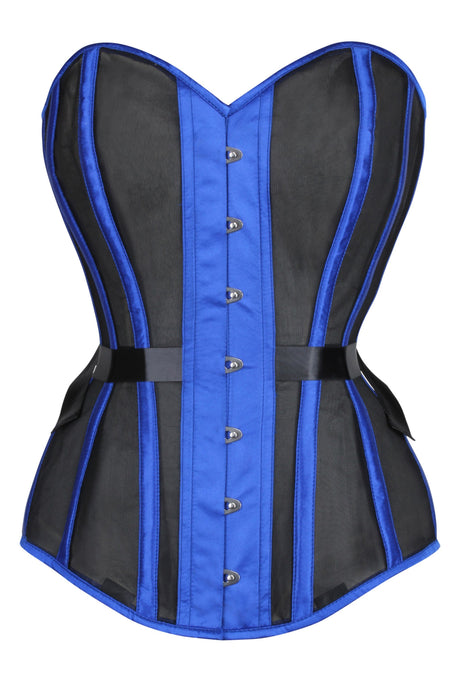 Blue Longline Overbust Mesh Corset with Fan Ribbon Lacing