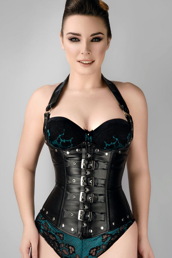 ae37499f42 Black Leather Look PU Underbust With Halter Strap – Corset Story US