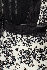 Black And Cream Damask Print Halterneck Corset