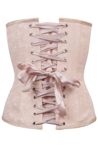 Pinky Beige Vintage Straight Line Overbust With Lace Channels