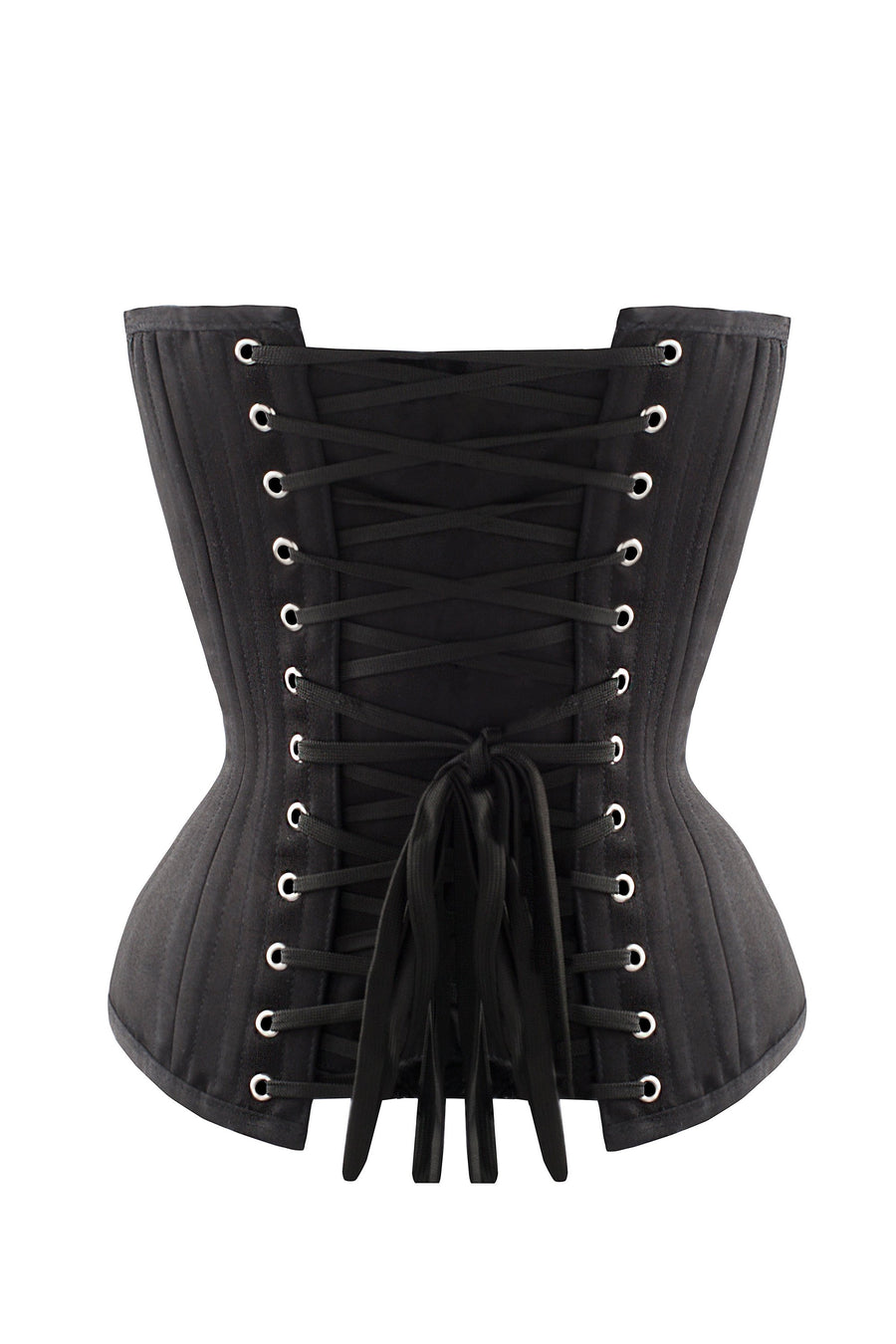 Black Cotton Twill Classic Overbust Waist Trainer With Hip Gores