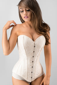 Exquisite Cream Brocade Longline Overbust Waist Trainer
