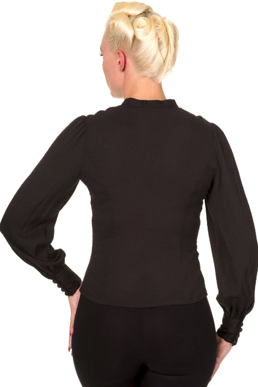 Fitted Black Long Sleeve Blouse