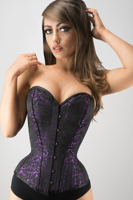 Purple Brocade Expert Waist Training Overbust Corset