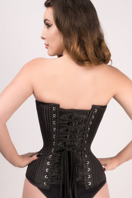 Black Striped Expert Waist Training Overbust Corset
