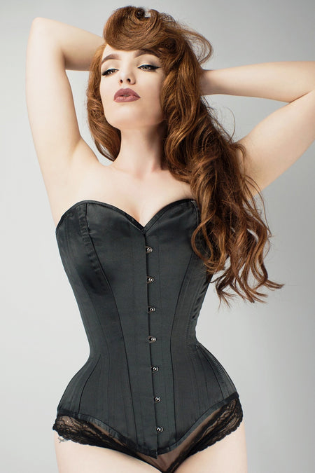 Long Line Black Satin Expert Waist Training Overbust Corset