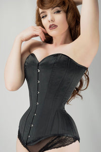 long line black satin expert waist training overbust