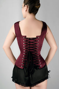 Burgundy V Neck Waist Taming Overbust With Straps