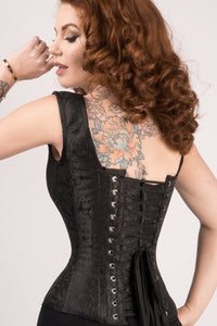 Black Brocade Waist Taming Overbust With Shoulder Straps