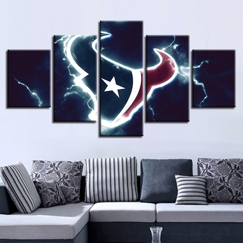 5 Panel Canvas Modern Wall Art Houston Texans Sport Paintings Home