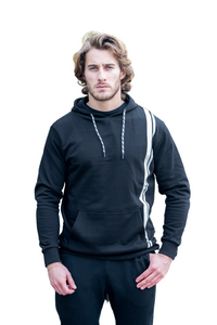 Relaxed fit Striped Black Hoddie