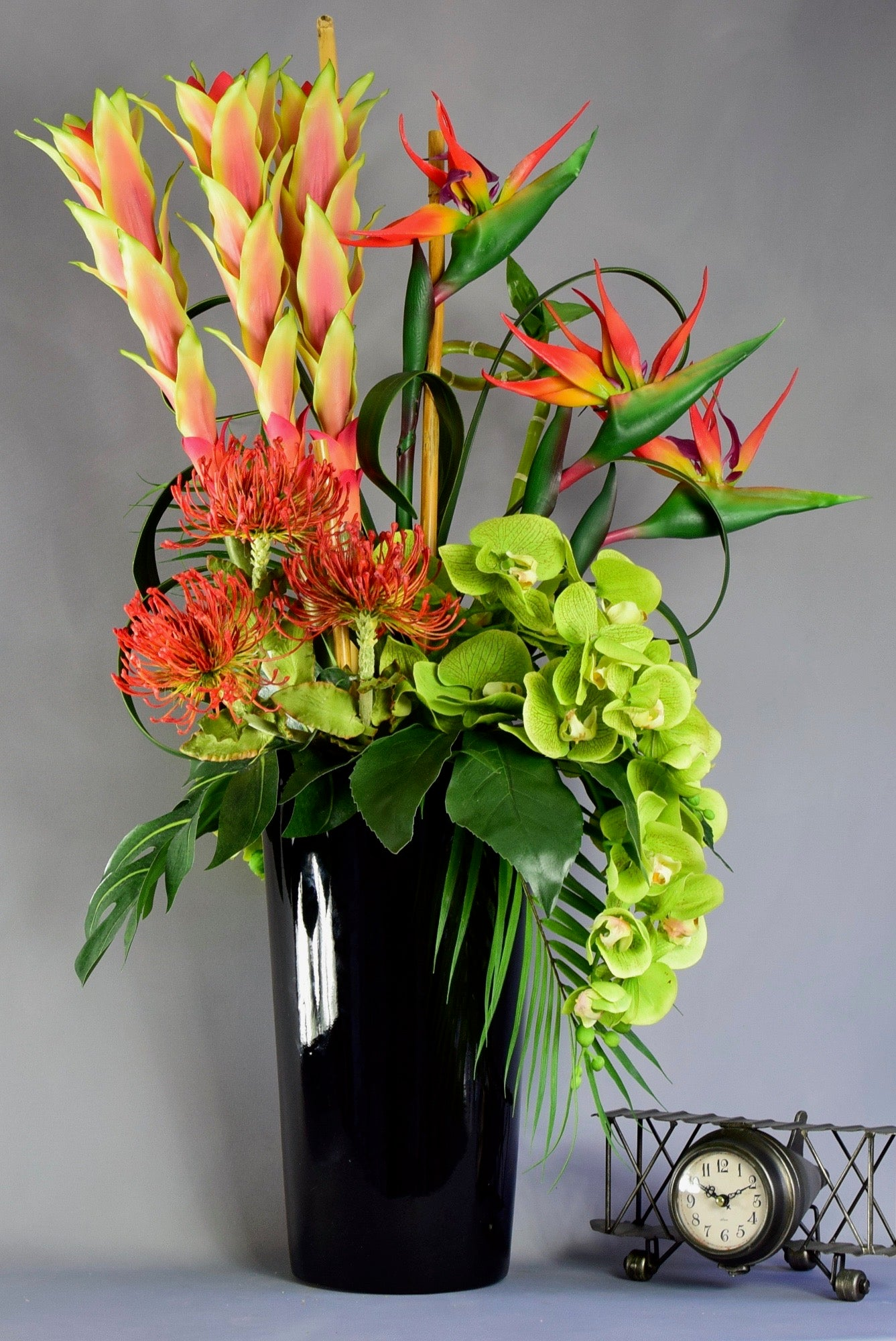 Tropical Flowers in Black  Planter