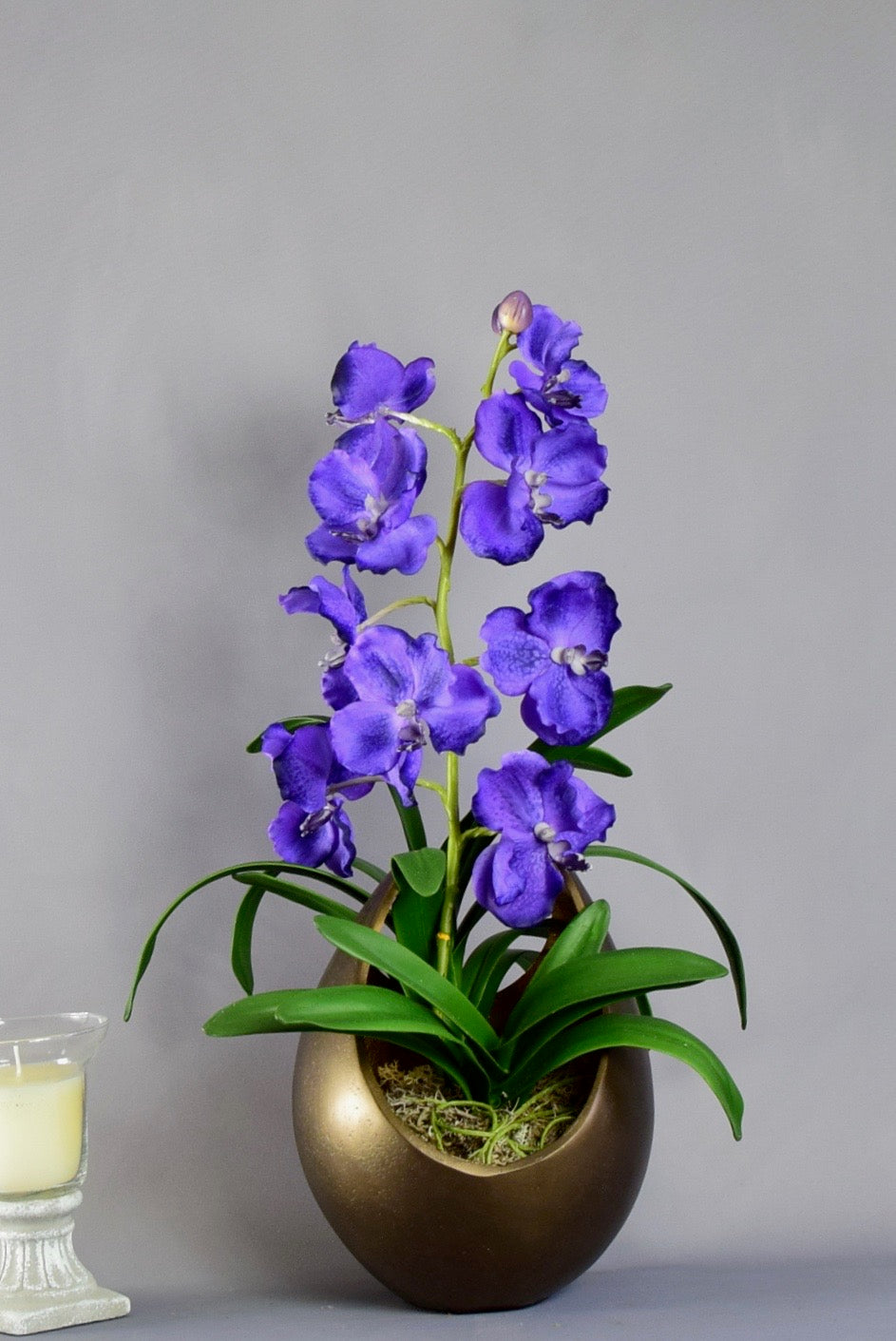 Purple Vanda Orchid in a Gold Flame Vase