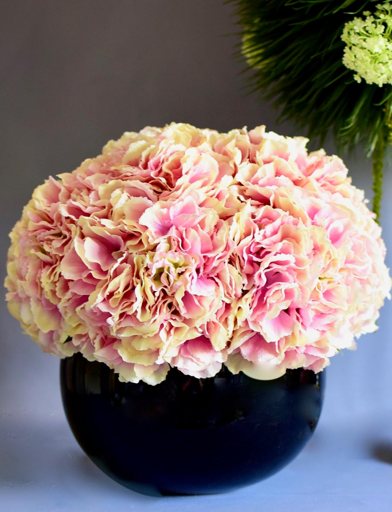 Pink Hydrangeas in Black Glass Fishbowl Vase