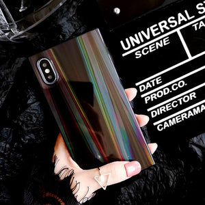 Laser Rainbow Shining Square Phone Case For iPhone