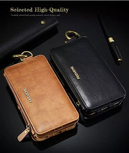 FLOVEME PU Leather Retro Wallet Case Protective Phone Bag For iPhone