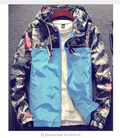 Cheapest and Best Reviews for Floral Autumn Bomber Jacket M / Sky Blue at trendingvip.com