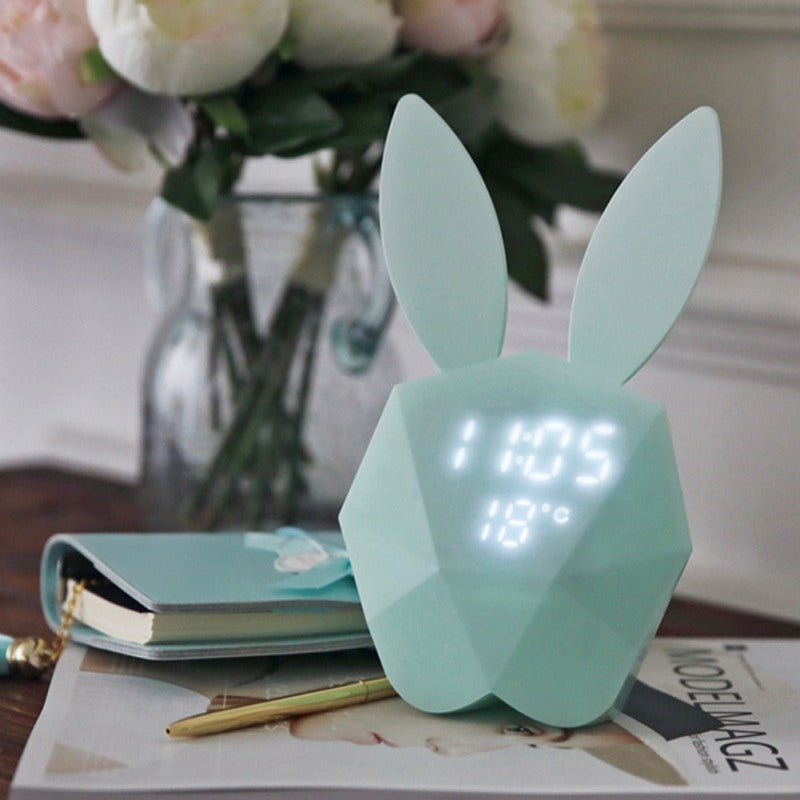 Cheapest and Best Reviews for Bunny Alarm Clock Rechargeable Night Light Blue at trendingvip.com