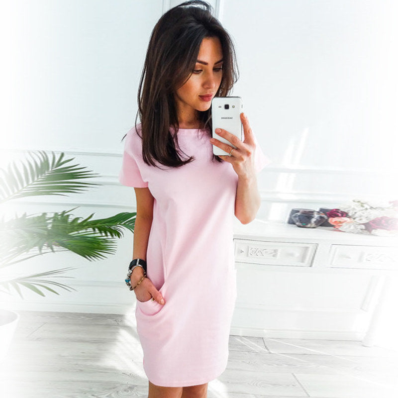 Casual Short Sleeve Dress With Pockets summer dress Trending Vip