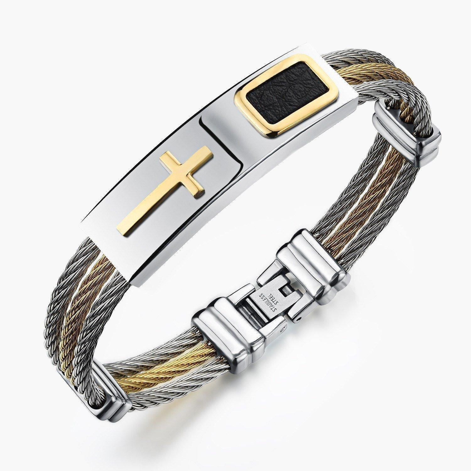 Cheapest and Best Reviews for 2017 Premium Gold Stainless Steel Cross Bracelet - Limited Edition  at trendingvip.com