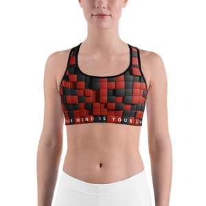 Limited Sports Bra - Red&Black Quadrants