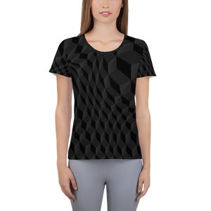 Women's Athletic T-shirt - 3D Cube