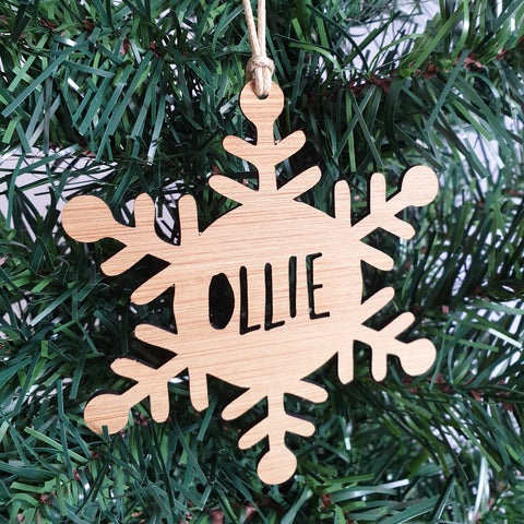 Snowflake Christmas decoration - Little Birdy Finds - Australian made, personalised children's decor, bag tags, cubby house signs, christmas decorations, custom made, personalised decor, personalised gifts, keepsake