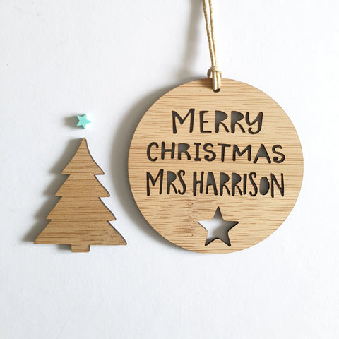 Personalised  Christmas Decoration for Teacher - star - Little Birdy Finds