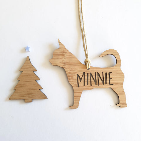 CHIHUAHUA Personalised  Christmas Decoration - Little Birdy Finds - Australian made, personalised children's decor, bag tags, cubby house signs, christmas decorations, custom made, personalised decor, personalised gifts, keepsake