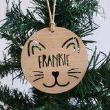 Cat Christmas decoration - Little Birdy Finds - Australian made, personalised children's decor, bag tags, cubby house signs, christmas decorations, custom made, personalised decor, personalised gifts, keepsake