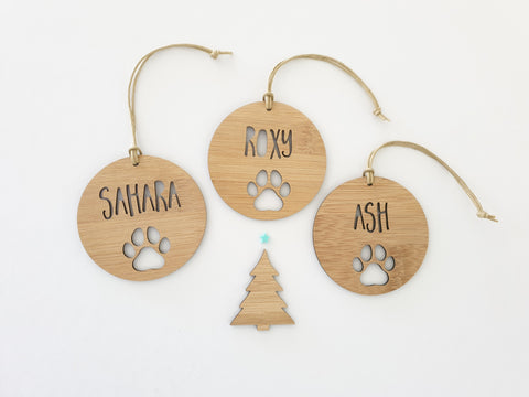 Personalised Dog / Cat / Pet Wood Christmas Decoration-PAW DESIGN - Little Birdy Finds
