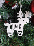 White Reindeer Personalised Christmas Decoration