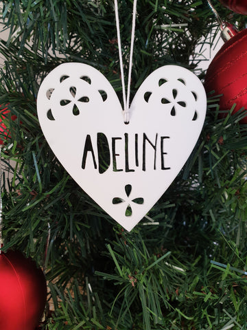 White Heart Personalised Christmas Decoration