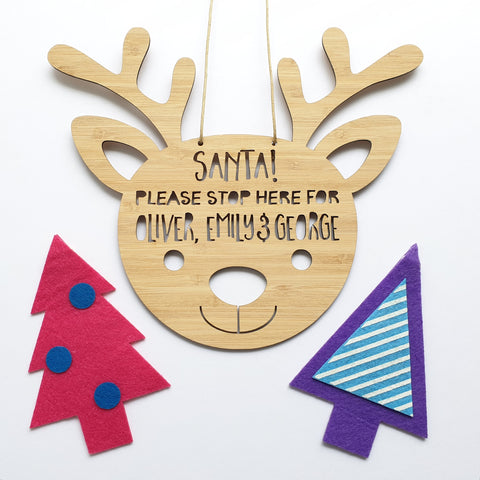 Personalised Reindeer Christmas Santa Please Stop Here!