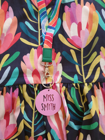 Personlised Teacher Keyring WITH RAINBOW LANYARD