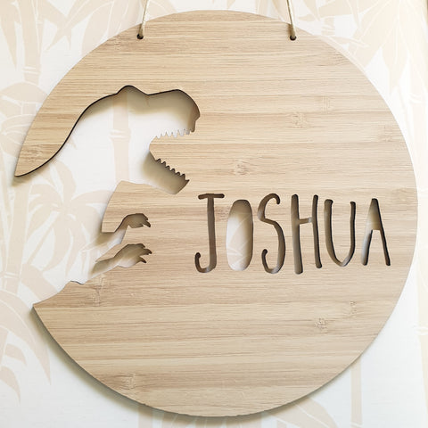 Cut Out T-REX Dinosaur Personalised  Wall Hanging