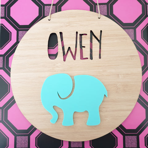 Elephant Bamboo & Acrylic Wall Plaque