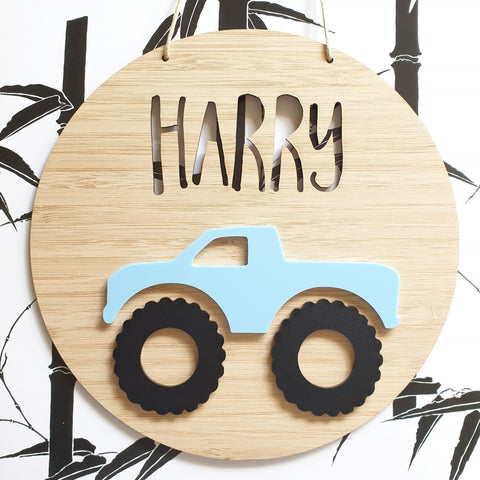 Monster Truck Bamboo & Acrylic Wall Plaque