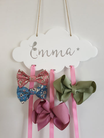 Personalised White Cloud Bow-Hairclip holder