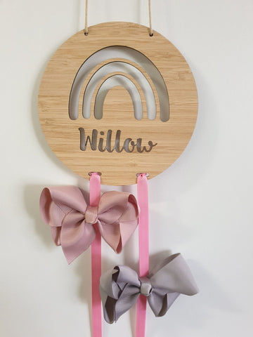 Personalised Wooden Bow-Hairclip holder RAINBOW Design