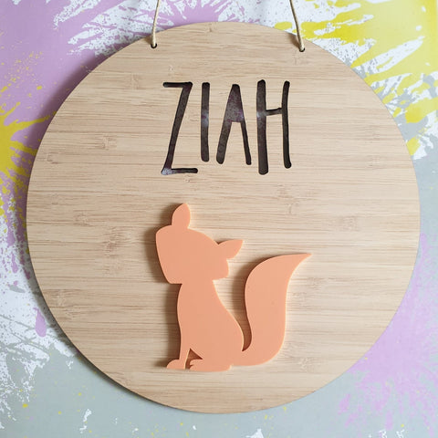 Fox Bamboo & Acrylic Wall Plaque