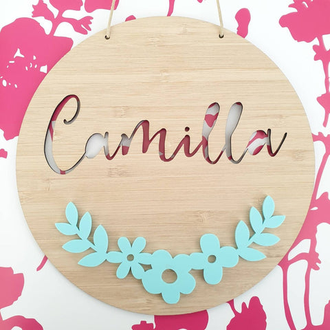 Floral Garland Bamboo & Acrylic Wall Plaque