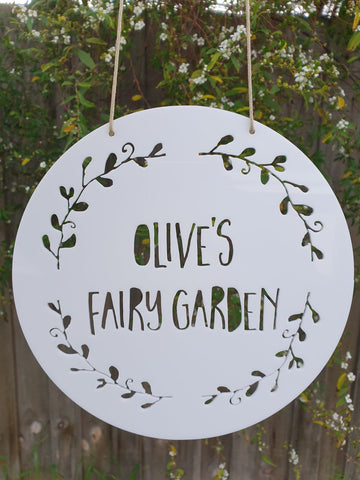 Personalised Fairy Garden Wreath Sign - Little Birdy Finds