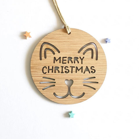 Christmas Decoration Cat Design - Little Birdy Finds - Australian made, personalised children's decor, bag tags, cubby house signs, christmas decorations, custom made, personalised decor, personalised gifts, keepsake