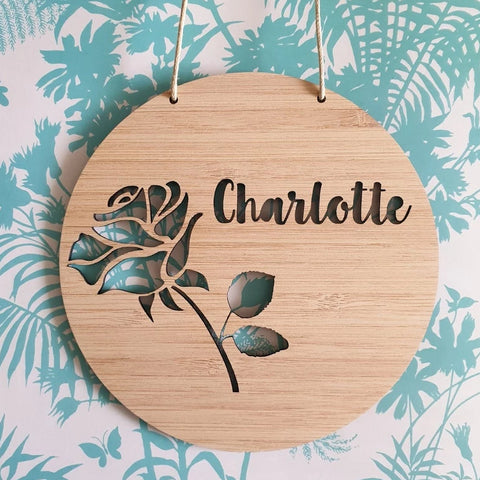 Rose Personalised Wall Plaque - Little Birdy Finds - Australian made, personalised children's decor, bag tags, cubby house signs, christmas decorations, custom made, personalised decor, personalised gifts, keepsake