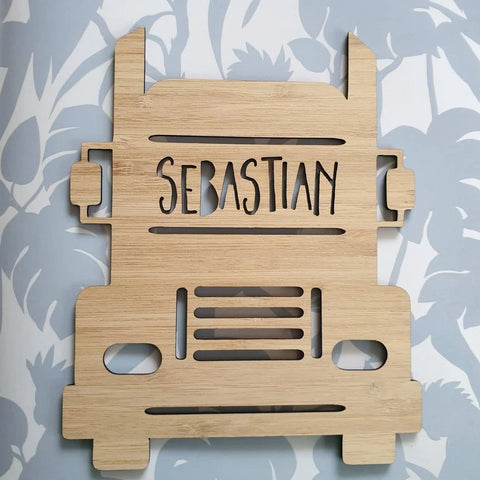Truck Personalised Wooden Plaque - Little Birdy Finds - Australian made, personalised children's decor, bag tags, cubby house signs, christmas decorations, custom made, personalised decor, personalised gifts, keepsake