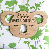 Shhh Baby Is Sleeping Sleepy Koala Wall Hanging - Little Birdy Finds - Australian made, personalised children's decor, bag tags, cubby house signs, christmas decorations, custom made, personalised decor, personalised gifts, keepsake