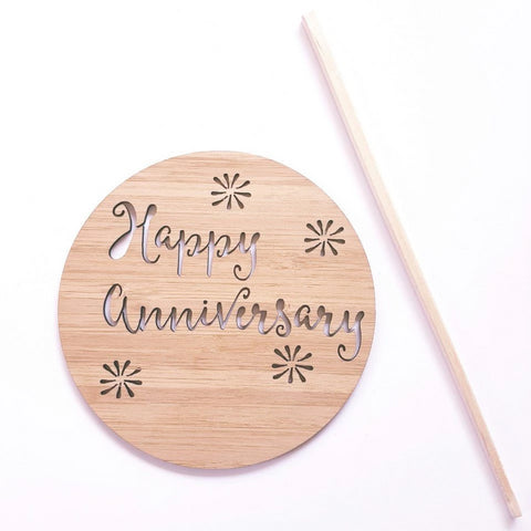 Happy Anniversary Wood Cake Topper - Little Birdy Finds