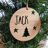 Personalised Christmas Decoration-TREE and STARS DESIGN - Little Birdy Finds