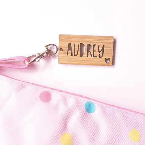 Personalised Wood Key Ring with Heart - Little Birdy Finds